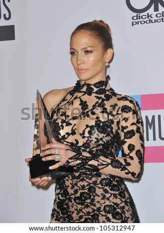 LOS ANGELES, CA - NOVEMBER 20, 2011: Jennifer Lopez at the 2011 American Music Awards at the Nokia Theatre L.A. Live in downtown Los Angeles. November 20, 2011  Los Angeles, CA - stock photo