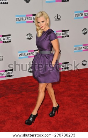 LOS ANGELES, CA - NOVEMBER 20, 2011: Jenny McCarthy arriving at the 2011 American Music Awards at the Nokia Theatre, L.A. Live in downtown Los Angeles. - stock photo