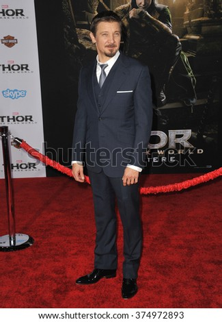 "LOS ANGELES, CA - NOVEMBER 4, 2013: Jeremy Renner at the US premiere of ""Thor: The Dark World"" at the El Capitan Theatre, Hollywood. Picture: Paul Smith / Featureflash - stock photo"