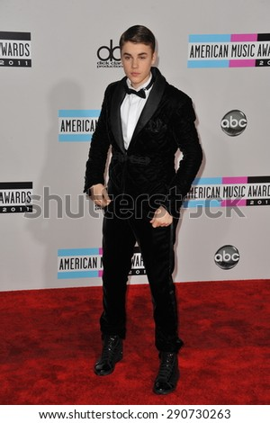 LOS ANGELES, CA - NOVEMBER 20, 2011: Justin Bieber arriving at the 2011 American Music Awards at the Nokia Theatre, L.A. Live in downtown Los Angeles.
