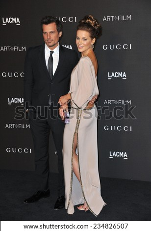 LOS ANGELES, CA - NOVEMBER 1, 2014: Kate Beckinsale & husband Len Wiseman at the 2014 LACMA Art+Film Gala at the Los Angeles County Museum of Art.  - stock photo