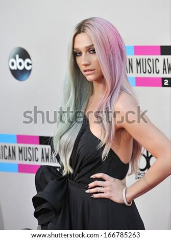 LOS ANGELES, CA - NOVEMBER 24, 2013: Ke$ha at the 2013 American Music Awards at the Nokia Theatre, LA Live.  - stock photo