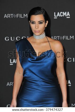 LOS ANGELES, CA - NOVEMBER 1, 2014: Kim Kardashian at the 2014 LACMA Art+Film Gala at the Los Angeles County Museum of Art. - stock photo