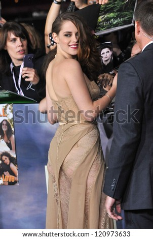 "LOS ANGELES, CA - NOVEMBER 12, 2012: Kristen Stewart at the world premiere of her movie ""The Twilight Saga: Breaking Dawn - Part 2"" at the Nokia Theatre LA Live. - stock photo"