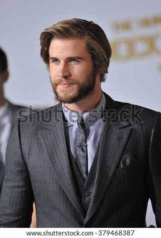 "LOS ANGELES, CA - NOVEMBER 17, 2014: Liam Hemsworth at the Los Angeles premiere of his movie ""The Hunger Games: Mockingjay Part One"" at the Nokia Theatre LA Live. - stock photo"