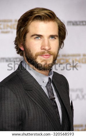 LOS ANGELES, CA - NOVEMBER 17, 2014: Liam Hemsworth at the Los Angeles premiere of 'The Hunger Games: Mockingjay - Part 1' held at the Nokia Theatre L.A. Live in Los Angeles, USA. - stock photo