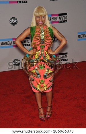LOS ANGELES, CA - NOVEMBER 21, 2010: Nicki Minaj at the 2010 American Music Awards at the Nokia Theatre L.A. Live. - stock photo