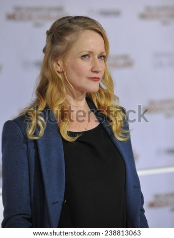 """LOS ANGELES, CA - NOVEMBER 17, 2014: Paula Malcomson at the Los Angeles premiere of her movie """"The Hunger Games: Mockingjay Part One"""" at the Nokia Theatre LA Live.  - stock photo"""