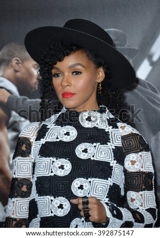 """LOS ANGELES, CA - NOVEMBER 19, 2015: Singer Janelle Monae at the premiere of """"Creed"""" - stock photo"""