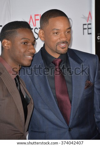 """LOS ANGELES, CA - NOVEMBER 10, 2015: Singer/songwriter Leon Bridges (left) & actor Will Smith at the premiere of """"Concussion"""", part of the AFI FEST 2015, at the TCL Chinese Theatre, Hollywood. - stock photo"""