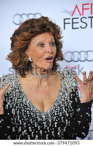 LOS ANGELES, CA - NOVEMBER 12, 2014: Sophia Loren at the American Film Institute's special tribute gala in her honor at the Dolby Theatre. - stock photo
