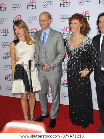 LOS ANGELES, CA - NOVEMBER 12, 2014: Sophia Loren & son Edoardo Ponti & wife actress Sasha Alexander at the American Film Institute's special tribute gala in her honor at the Dolby Theatre. - stock photo