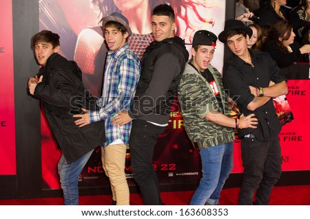 LOS ANGELES, CA - NOVEMBER 18: The Janoskians arrives at the premiere of The Hunger Games: Catching Fire at the Nokia Theater in Los Angeles, CA on November 18, 2013 - stock photo