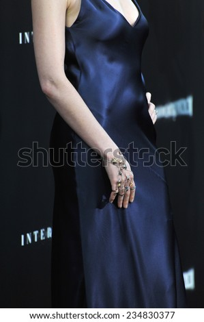 LOS ANGELES, CA - OCTOBER 26, 2014: Anne Hathaway at the Los Angeles premiere of her movie Interstellar at the TCL Chinese Theatre, Hollywood.  - stock photo