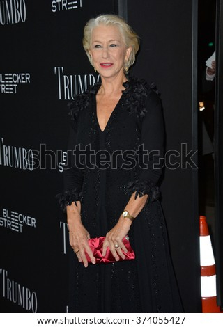 "LOS ANGELES, CA - OCTOBER 27, 2015: Dame Helen Mirren at the US premiere of her movie ""Trumbo"" at the Academy of Motion Picture Arts & Sciences, Beverly Hills.