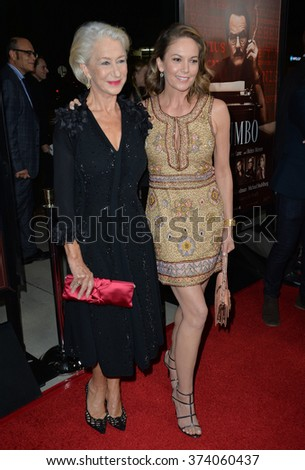 "LOS ANGELES, CA - OCTOBER 27, 2015: Dame Helen Mirren & Diane Lane (right) at the US premiere of their movie ""Trumbo"" at the Academy of Motion Picture Arts & Sciences, Beverly Hills.