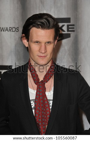 "LOS ANGELES, CA - OCTOBER 15, 2011: ""Dr. Who"" star Matt Smith at the 2011 Spike TV Scream Awards at Universal Studios, Hollywood. October 15, 2011  Los Angeles, CA - stock photo"