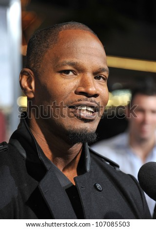 """LOS ANGELES, CA - OCTOBER 28, 2010: Jamie Foxx at the Los Angeles premiere of his new movie """"Due Date"""" at Grauman's Chinese Theatre, Hollywood. October 28, 2010  Los Angeles, CA - stock photo"""
