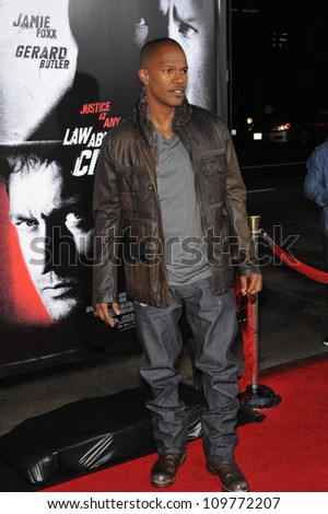 """LOS ANGELES, CA - OCTOBER 6, 2009: Jamie Foxx at the Los Angeles premiere of his new movie """"Law Abiding Citizen"""" at Grauman's Chinese Theatre, Hollywood. - stock photo"""
