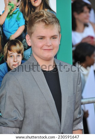"LOS ANGELES, CA - OCTOBER 6, 2014: Reese Hartwig at the world premiere of his movie ""Alexander and the Terrible, Horrible, No Good, Very Bad Day"" at the El Capitan Theatre, Hollywood.  - stock photo"