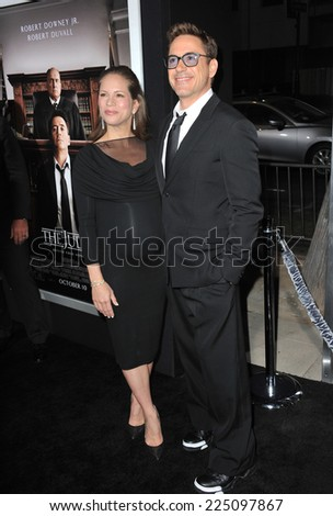 "LOS ANGELES, CA - OCTOBER 1, 2014: Robert Downey Jr & wife Susan Downey at the Los Angeles premiere of their movie ""The Judge"" at the Samuel Goldwyn Theatre, Beverly Hills.  - stock photo"