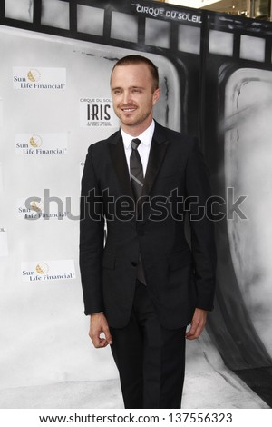 LOS ANGELES, CA - SEP 25: Aaron Paul at the IRIS, A Journey Through the World of Cinema by Cirque du Soleil premiere September 25, 2011 at Kodak Theater in Los Angeles, California - stock photo