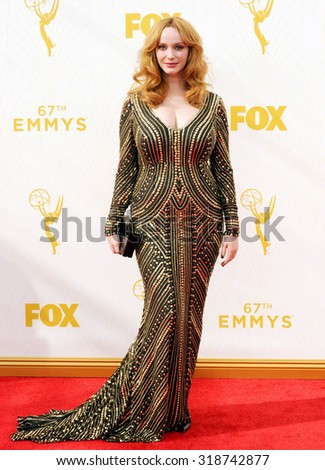 LOS ANGELES, CA - SEPTEMBER 20, 2015: Christina Hendricks at the 67th Annual Primetime Emmy Awards held at the Microsoft Theater in Los Angeles, USA on September 20, 2015. - stock photo