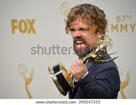 """LOS ANGELES, CA - SEPTEMBER 20, 2015: """"Game of Thrones"""" star Peter Dinklage at the 67th Primetime Emmy Awards at the Microsoft Theatre LA Live. - stock photo"""