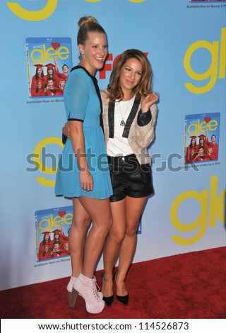 "LOS ANGELES, CA - SEPTEMBER 12, 2012: Heather Morris & Vanessa Lengies (right) at the season four premiere of ""Glee"" at Paramount Studios, Hollywood. - stock photo"