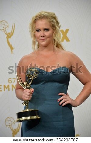 "LOS ANGELES, CA - SEPTEMBER 20, 2015: ""Inside Amy Schumer"" star Amy Schumer at the 67th Primetime Emmy Awards at the Microsoft Theatre LA Live.  - stock photo"