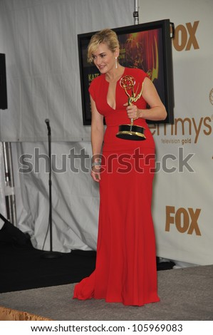 LOS ANGELES, CA - SEPTEMBER 18, 2011: Kate Winslet at the 2011 Primetime Emmy Awards at the Nokia Theatre L.A. Live. September 18, 2011  Los Angeles, CA - stock photo