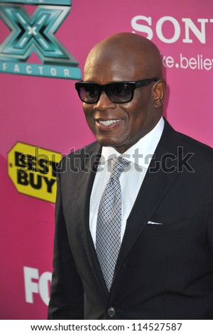 """LOS ANGELES, CA - SEPTEMBER 11, 2012: L.A. Reid at the season two premiere of """"X Factor USA"""". He had his handprints set in cement at Grauman's Chinese Theatre - stock photo"""
