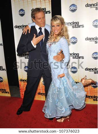 LOS ANGELES, CA - SEPTEMBER 20, 2010: Michael Bolton & Chelsie Hightower at the Season 11 premiere of ABC's Dancing With The Stars at CBS Television City, Los Angeles. - stock photo