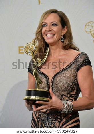 """LOS ANGELES, CA - SEPTEMBER 20, 2015: """"Mom"""" star Allison Janney at the 67th Primetime Emmy Awards at the Microsoft Theatre LA Live. - stock photo"""