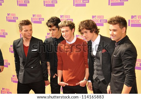 LOS ANGELES, CA - SEPTEMBER 6, 2012: One Direction at the 2012 MTV Video Music Awards at Staples Center, Los Angeles. - stock photo