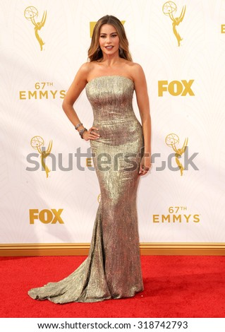 LOS ANGELES, CA - SEPTEMBER 20, 2015: Sofia Vergara at the 67th Annual Primetime Emmy Awards held at the Microsoft Theater in Los Angeles, USA on September 20, 2015. - stock photo