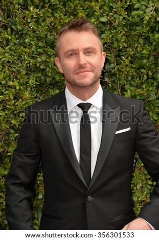 LOS ANGELES, CA - SEPTEMBER 12, 2015: TV presenter Chris Hardwick at the Creative Arts Emmy Awards 2015 at the Microsoft Theatre LA Live.  - stock photo