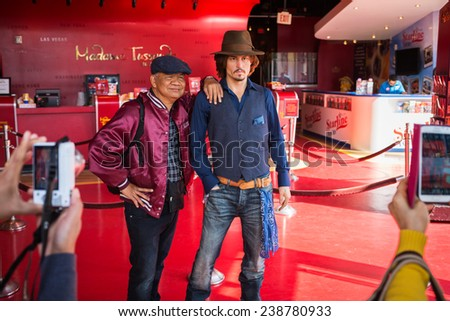 Los Angeles, CA, USA - April 18 2014: Wax statue of Johnny Depp, Hollywood celebrity and actor, at Madame Tussauds museum in Hollywood - stock photo