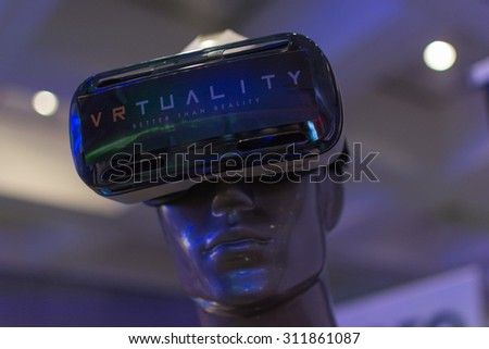 Los Angeles, CA - USA - August 29, 2015: Virtual headset during VRLA Expo, virtual reality exposition, event at the Los Angeles Convention Center in Los Angeles. - stock photo