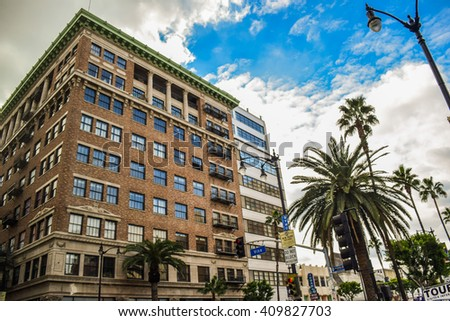 Los Angeles, CA, USA . January 16, 2016: Beautiful buildings on Hollywood Boulevard the world famous Walk of Fame created in 1958 as a tribute to artists working in the movie industry. - stock photo