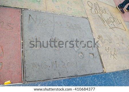 Los Angeles, CA, USA . January 16, 2016:  Handprint And SignatureTCL Chinese Theatre is a cinema on the Hollywood Walk of Fame in Los Angeles. - stock photo