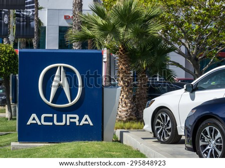 LOS ANGELES, CA/USA - JULY 11, 2015: Acura automobile dealership sign and logo. Acura is the luxury vehicle division of Japanese automaker Honda. - stock photo