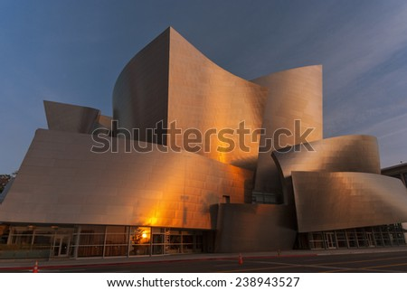 LOS ANGELES, CA/USA - MARCH 9 - The Walt Disney Concert Hall is shown at sunrise on March 9, 2008 in Los Angeles, California, USA - stock photo