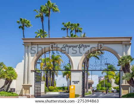 LOS ANGELES, CA/USA - MAY 2, 2015: Paramount Pictures entrance and sign.  Paramount Pictures is a motion picture studio in California. - stock photo