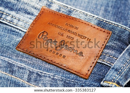 LOS ANGELES, CA, USA - October 18, 2015. Part of Jeans by Pepe Jeans London, back patch close-up - stock photo