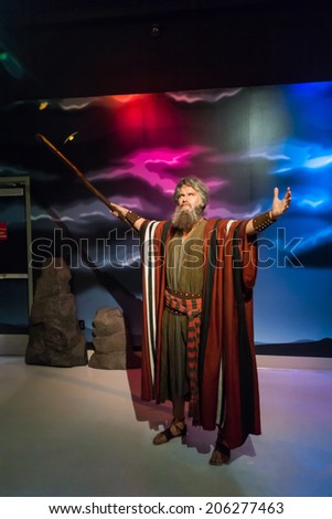 Los Angeles, CA, USA - 6th July 2013: Madame Tussauds Hollywood figures - Moses - stock photo