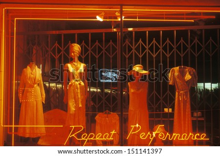 LOS ANGELES, CALIFORNIA - CIRCA 1980's: Women's nightgowns in a storefront window, Los Angeles, CA - stock photo