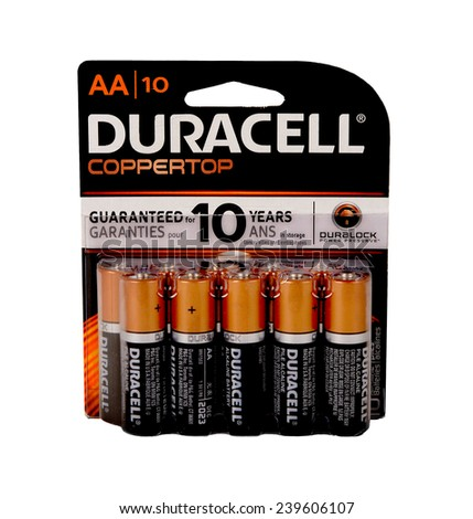 Los Angeles,California Dec 10th 2014:  Nice Image Of a Pack Of Duracell Copper top batteries - stock photo