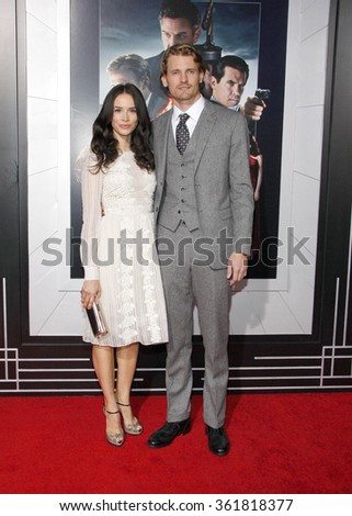 LOS ANGELES, CALIFORNIA - January 7, 2013. Abigail Spencer and Josh Pence at the Los Angeles premiere of 'Gangster Squad' held at the Grauman's Chinese Theatre in Los Angeles.  - stock photo