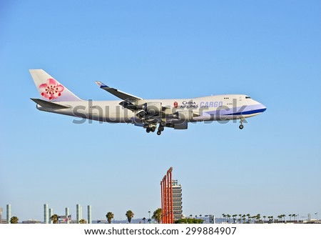 LOS ANGELES/CALIFORNIA - JULY 12, 2015: China Airlines Boeing 747 Cargo jet on approach to runway at Los Angeles International Airport in Los Angeles, California, USA - stock photo